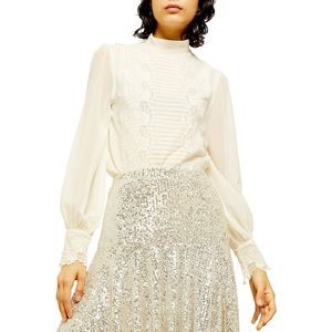 NWT Topshop Idol Embroidered Cutwork Blouse Size 2